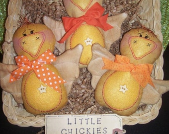 Primitive Whimsical Country SPRING CHICKS Dolls Tucks Bowl Fillers Ornies