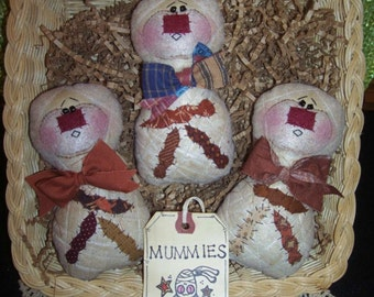 Primitive Whimsical Country Halloween MUMMY MUMMIES Dolls Tucks Bowl Fillers Ornies