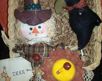 Primitive Whimsical Country Fall Autumn SCARECROW CROW Dolls Bowl Fillers Ornies