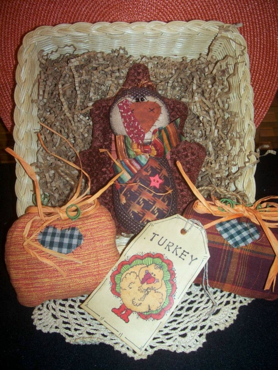 Primitive Whimsical Country Thanksgiving TURKEY PUMPKINS Bowl Fillers Beanie Ornies
