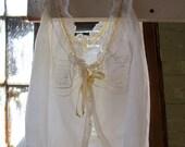 vintage 40s lace trim sheer white cotton blouse with yellow ribbon - Size XS