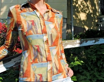 picasso's muse. muted colors cubist long sleeve button up shirt. size medium