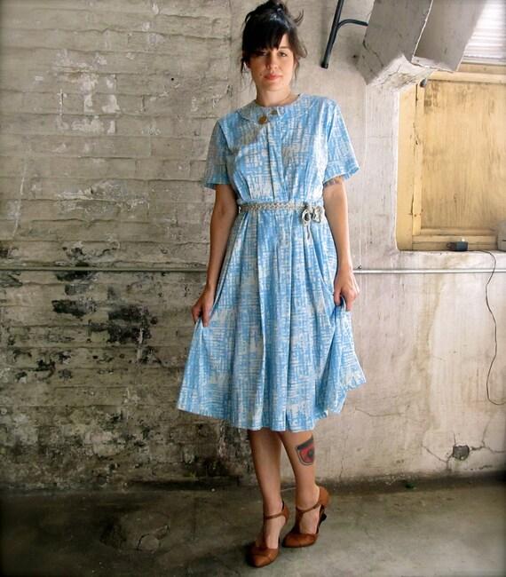 goodbye blue sky.  vintage mid century day dress. vintage spring dress.