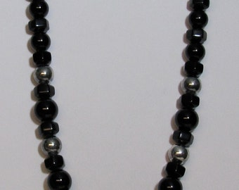 Graduated Black Onyx Beaded and Sterling Necklace