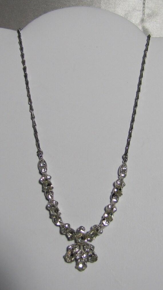 Rare 1950's Bogoff Clear Rhinestone Necklace