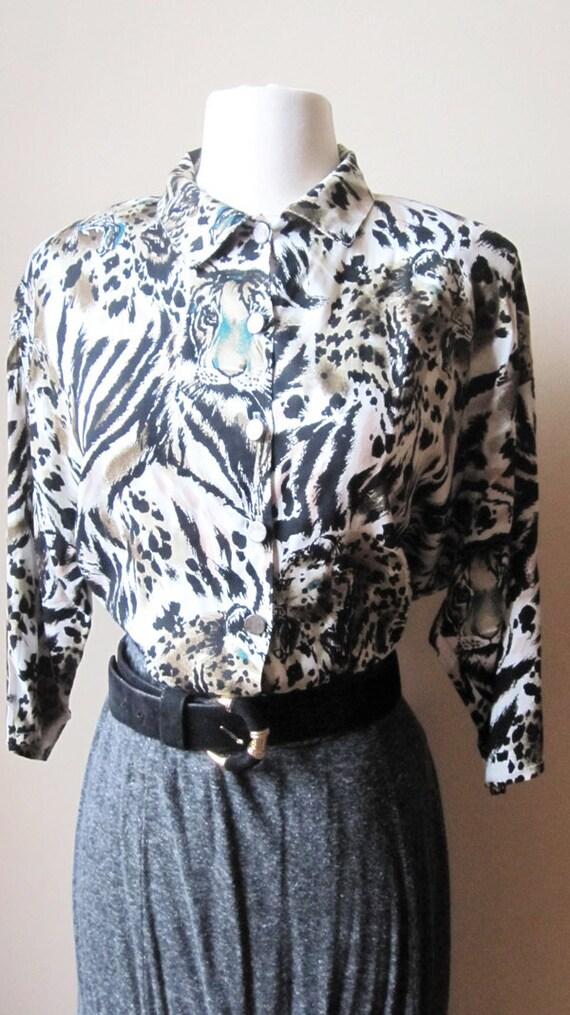 CLEARANCE, Vintage shirt, Tiger Print Shirt, 80's Shirt, Size Small Shirt, Size medium, Black and White Shirt, Grunge Shirt, Hipster Fashion