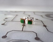 25% off - BLACK FRIDAY SALE - Circuit Board Earrings - Small Green Square - Cyborg Series