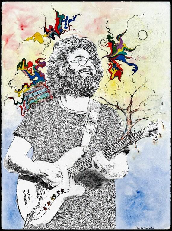 Jerry Garcia Portrait Fine Art Print- Limited Edition Music Poster, Grateful Dead