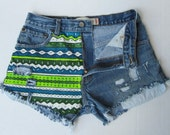 High waisted jean shorts neon Aztec hand painted  Levi cut offs made to order