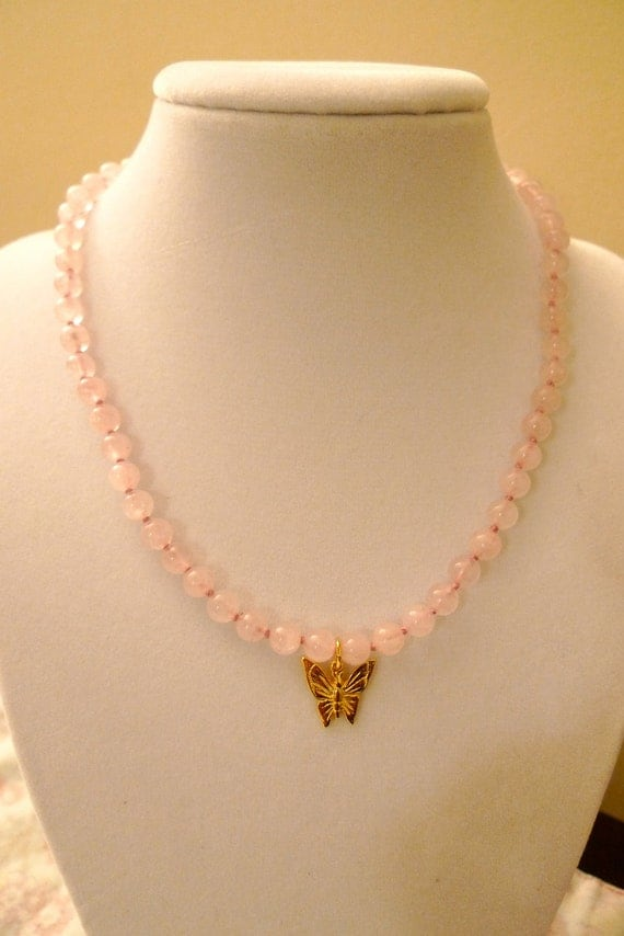 Little Girl's Rose Quartz Necklace with Butterfly Charm