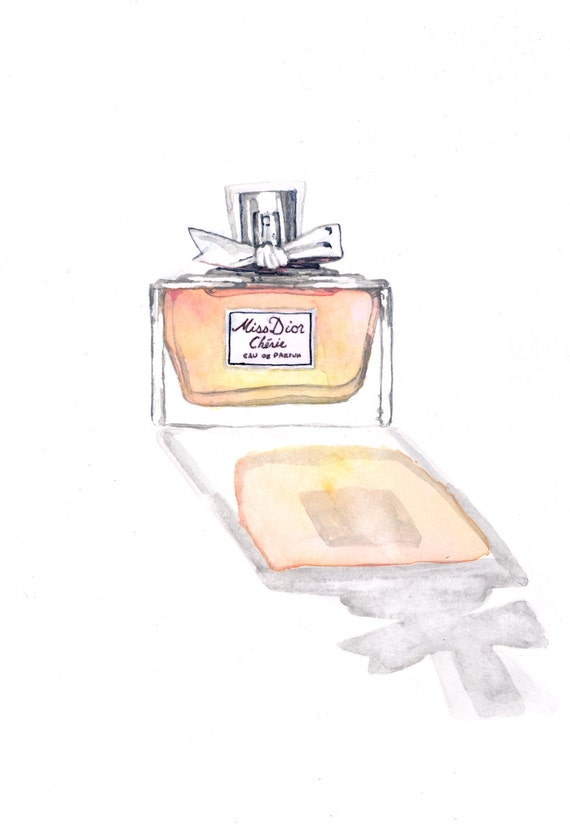 Miss Dior Cherie Painting Watercolor Perfume Bottle - Giclee Print of Watercolor - Blush Sunset Reflection Light Pretty bow Eau de Parfum