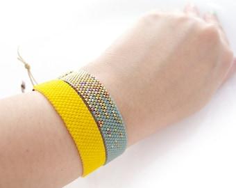 Stardust Mint Bracelet, Beaded Mint Bracelet, Mint and Gold Bracelet, Stardust Trail, Mint Cord Bracelet, BFF Bracelet