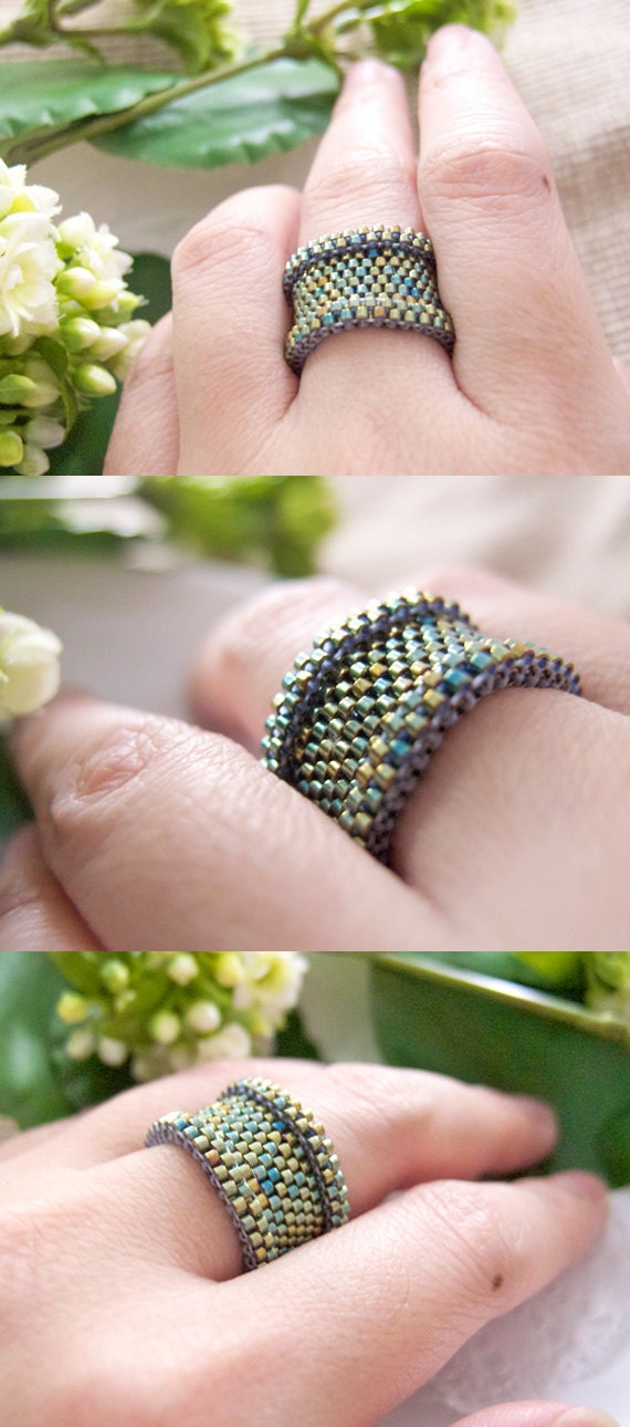 Beaded Green Ring, Metallic Ring, Barrel Ring, Dreadlock Bead, Statement Ring, Couple Ring