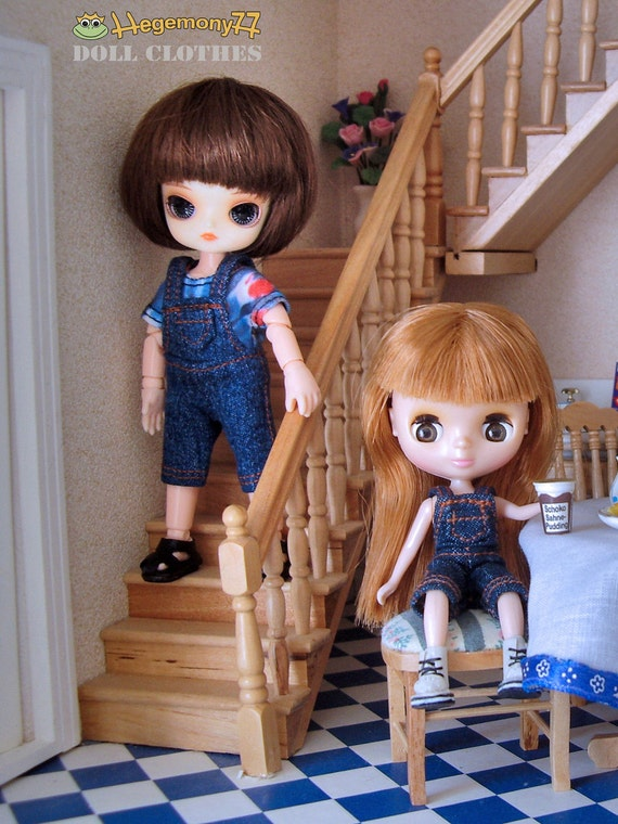 Knee length jeans doll dungarees for: 11cm Obitsu size dolls