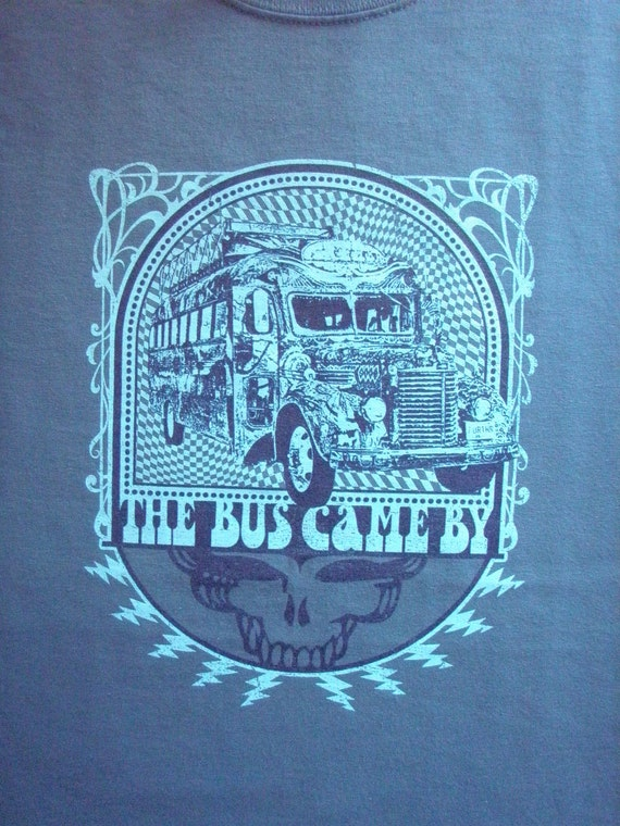 Furthur bus lot shirt on indigo blue - Grateful Dead, Jerry Garcia, hippie, Kesey, LSD, 420, Steal Your Face, SYF