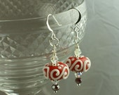 Handmade Earrings red white Lampwork Glass, silver plate leverbacks, Swarovski crystals, beads