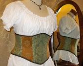"""Victorian Patchwork Waspie Corset - Basic - Spearmint, Caramel, & Espresso - Fits Waist 34.5""""-37"""""""