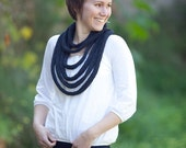 Knitted scarf - Multi strand knitted necklace - A198