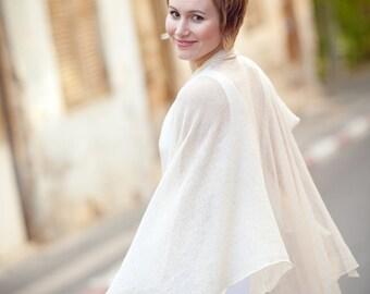 Knitted romantic shawl - Beige wedding wrap - 014