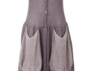 The dress to impress - lavender long dress - Knitted buttoned gown - A176
