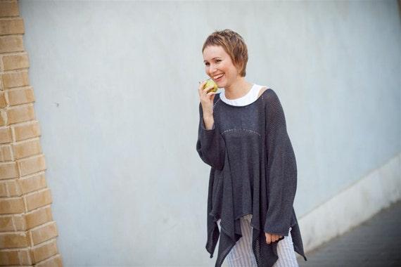 Bold knitted oversize tunic - Women Sweater - 002