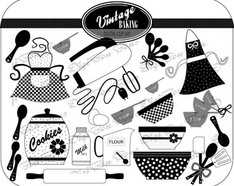 play kitchen clipart black and white. vintage baking digital clip art in black white u0026 gray cute retro play kitchen clipart and v