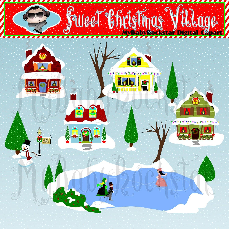 Christmas Village digital clip art INSTANT DOWNLOAD by ...