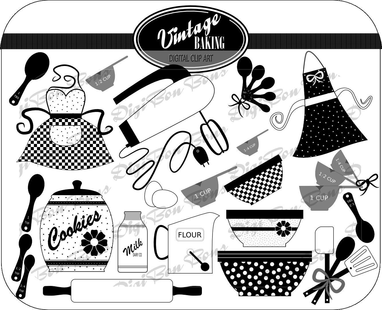Vintage Baking Digital Clip Art in Black White & by DigiBonBons
