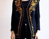 Embroidered Vest Black and Gold Ethnic Folk Hippie Boho