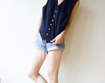 Military Vest navy w/ golden Anchor Buttons Oversized