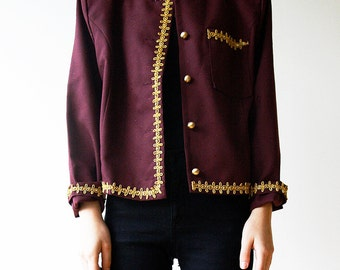 Burgundy Jacket Gold Embroidered Oriental Jacket Ethnic Blazer 90s Small S Medium M