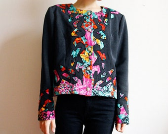 80's black Jacket Abstract Floral Print Shoulder pads