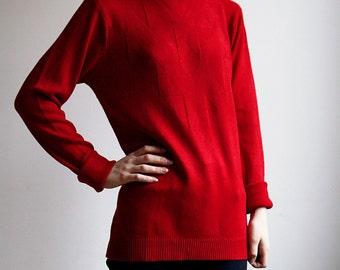 Red Turtleneck Sweater long sleeves Ribbed Collar medium