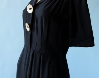 1940s black dress w/ buttons