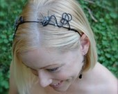 Halloween Black Headband with Two Spiders