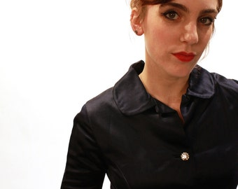 "1960s Blue Satin Rhinestone Button Dress, 29"" Waist"
