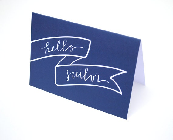 Nautical Greeting Card . Hello Sailor . Banner Illustration and Hand-Lettered Calligraphy Design . White on Navy Blue . Single . Print