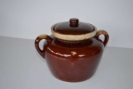 ON SALE Vintage McCoy Bean Pot McCoy Pottery Brown Drip Bean Pot with Lid