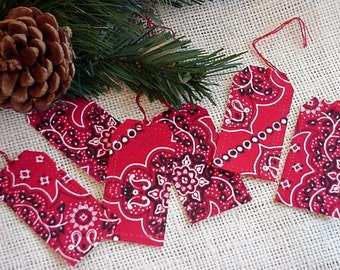 Western Gift Tags, Cowgirl Christmas Red Bandana Fabric Gift Wrap Tags, Hang Tags, Tie Ons, Package Labels itsyourcountry