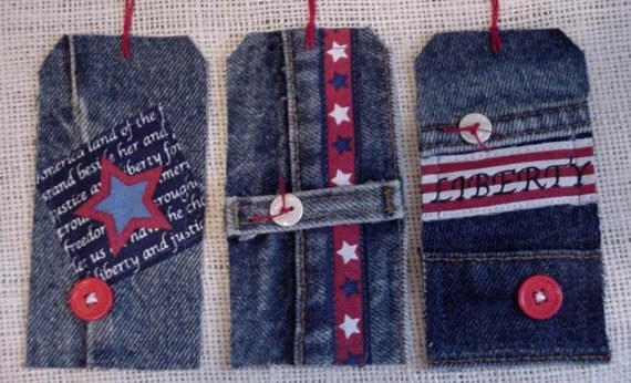 Patriotic Jean Tags Americana Blue Denim Fabric Gift Hang Tags Price Tags Tie Ons itsyourcountry
