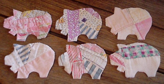 Patchwork Pig Appliques Feedsack Cutter Quilt Piggie Cutouts Vintage Quilted Fabric Primitive Shabby Embellishments itsyourcountry