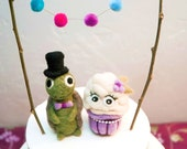 Cupcake and Turtle Wedding Cake Topper - AdoraWools Needle Felted Creations - You Choose Colors