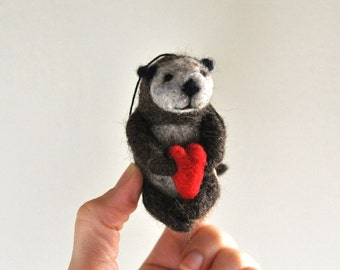 Otter Ornament  - Stocking Stuffer  - Christmas Gift - Wedding Cake Topper - AdoraWools.com