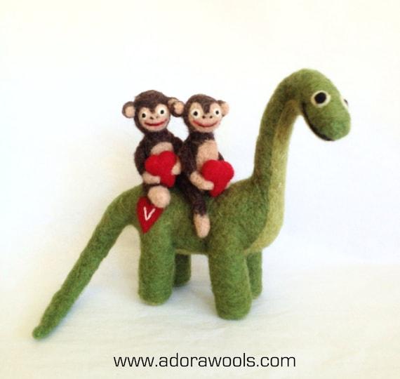 Twin Monkeys and The Dinosaur - AdoraWools.com