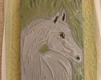 Porcelain Tile, Decorative Clay Tile, Ceramic Picture, Linoleum Block Print, Limited Edition, Framed ACEO, White Horse Head, Ready to Hang