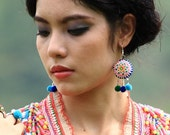 Hmong Heart Earring/ Accessories/ Ethnic/ Embroidery/Colorful/Tribal