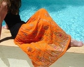 Gypsy Skirt: Orange Maxi Skirt, Long Sequin Skirt, Bohemian Indian Skirt, Boho Festival Clothing, Floral Peasant Skirt, Hippie Skirt