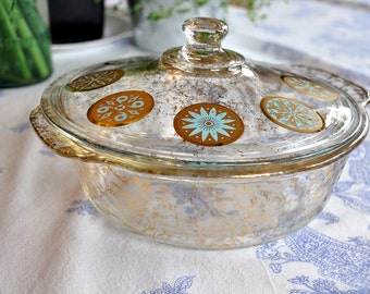 Vintage FIRE KING Turquoise & Gold Splatter -  2 qt casserole and lid Georges Briard