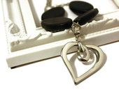 Heart Necklace with Stainless Steel Heart Pendant and Black Wood Beads, Black Necklace with Heart