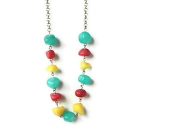 Yellow Necklace - Colorful Necklace - Long Necklace - Howlite Necklace - Bright Pink Necklace - Colorful Jewelry - Aqua Yellow Pink Necklace